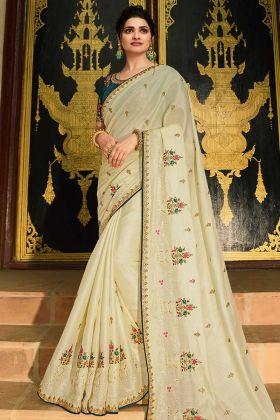 Prachi Desai Paper Silk Saree Cream Color With Embroidered Blouse