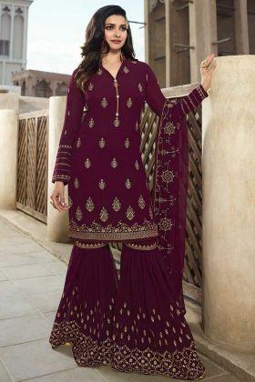 Prachi Desai Georgette Sharara Dress Embroidery Work In Purple Color