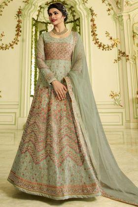 Prachi Desai Soft Net Anarkali Dress Stone Work In Green Color