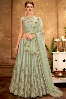 Prashvi Dual Tone Taffeta Silk Reception Lehenga Pastel Green Color