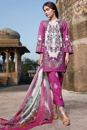 Preferable Purple Color Pure Cotton Muslin Salwar Suit For Eid