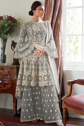 Pretty & Heavy Net Design Grey Color Sharara Suit