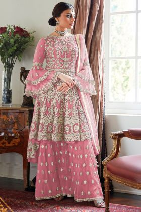 Heavy Net Design Pink Color Sharara Suit