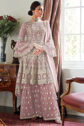Pretty & Heavy Net Design Mauve Color Sharara Suit