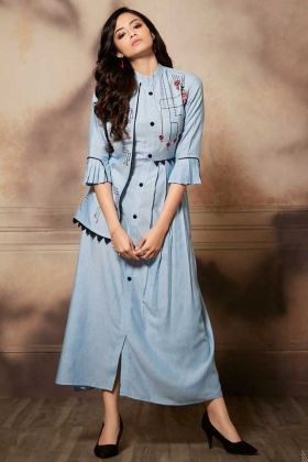Pretty Designer Readymade Kurti In Powder Blue Color