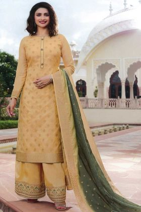 Pretty Look Cream Jacquard Silk Party Wear Salwar Suit