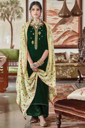 Pretty Look Green Color Falcon Velvet Wedding Wear Salwar Suit