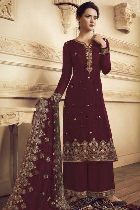 Pretty Look Maroon Festive Wear Salwar Suit