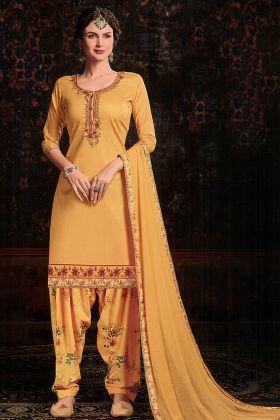 Pretty Look Musturd Yellow Satin Cotton Salwar Suit Online
