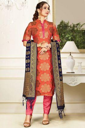 Pretty Look Orange Banarasi Art Silk In Weaving Work Salwar Suit
