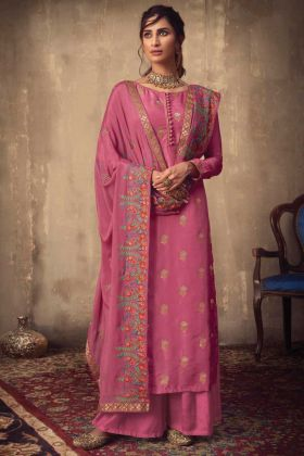 Pretty Look Pink Jacquard Silk Salwar Suit For Festival