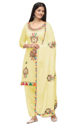 Pretty Look Woman's Wear Yellow Chanderi Cotton Patiyala Salwar Suit