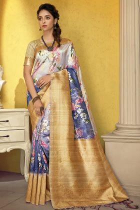Pretty Looking Art Silk Multi Color Digital Printed Saree