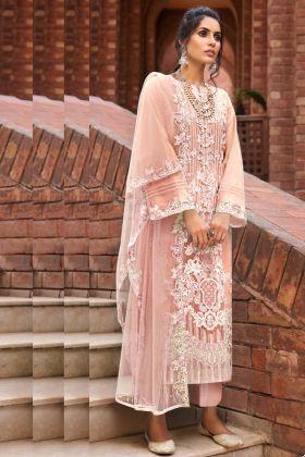 Pretty Looking Butterfly Net Peach Color Pakistani Style Women Dress