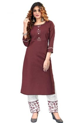 Pretty Looking Coffee Color Ruby Cotton Kurti Online