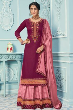 Pretty Looking Fancy Zam Silk Purple Lehenga Suit With Heavy Work