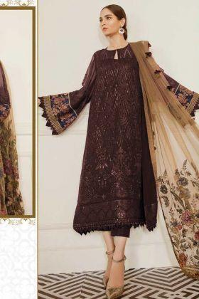 Pretty Looking Georgette Designer Brown Pakistani Suit