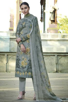 Pretty Looking Grey Color Cotton Palazzo Suit With Stylish Print