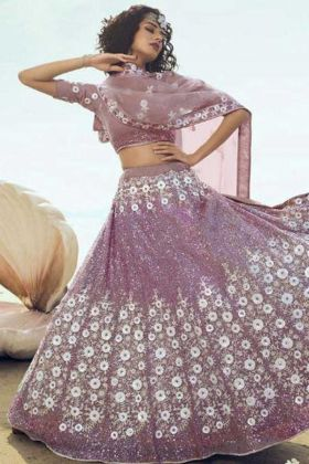 Pretty Looking Lilac Color Soft Net Heavy And Unique Lehenga Choli