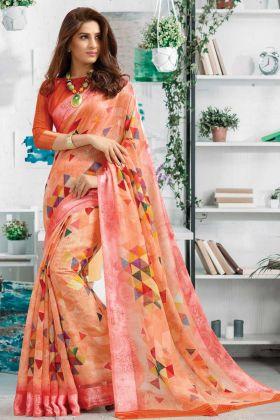 Pretty Looking Orange Linen Digital Printed Saree By Online