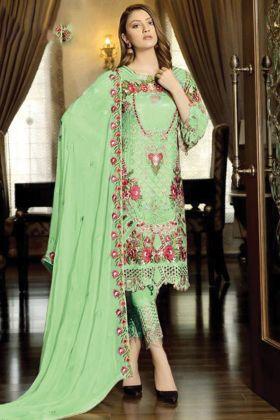 Pretty Looking Parrot Color Faux Georgette Pakistani Salwar Suit Collection