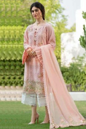 Pretty Looking Peach Color Pakistani Salwar Suit In Pure Cambric Cotton Fabric