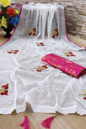 Pretty Looking Pink Linen Saree Under 1000 Rate
