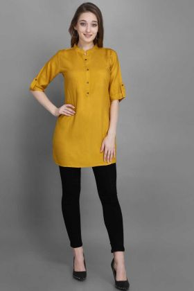 Pretty Tunic Patterned kurti In Yellow Color
