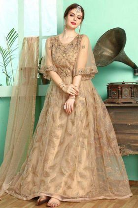 Pretty Cream Color Indian Gowns Dresses