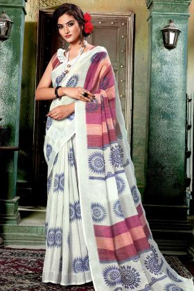 Pretty Digital Printed Saree In Off-White Color Linen Cotton