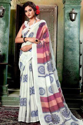 Pretty Digital Printed Saree In Off-White Color Linen Cotton