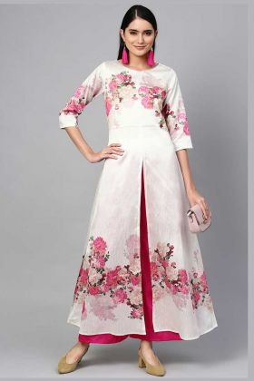 Pretty Floral Prints White Kurti With Rayon Pant