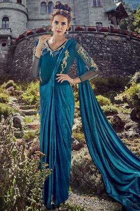 Pretty Readymade Lycra Gown Saree Blue Color