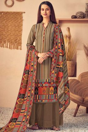 Print With Four Side Beige Color Pure Wool Pashmina Suit