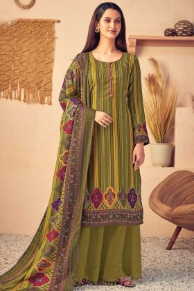 Print With Four Side Olive Green Color Pure Wool Pashmina Suit