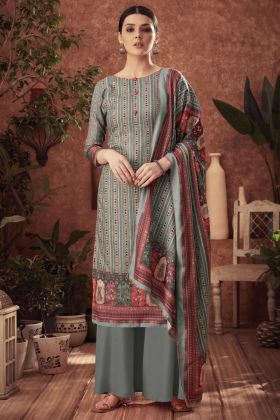 Print With Swaroski Diamond Grey Color Pashmina Plazzo Suit