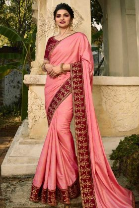 Printed Barfi Silk Party Wear Prachi Desai Baby Pink Saree