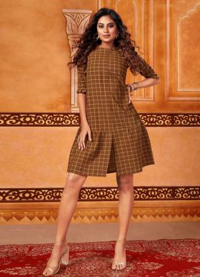 Printed Brown Cotton Short Kurti