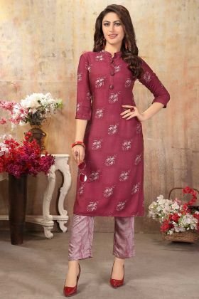Printed Cotton Silk Best Kurtis In Magenta Pink