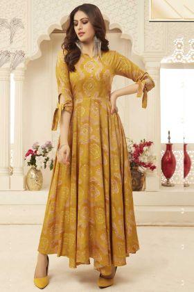 Printed Mustard Yellow Rayon Designer Gown