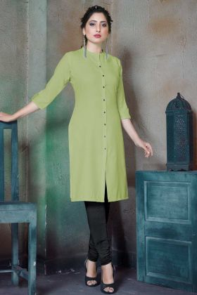 Printed Plain Light Green Readymade Kurti
