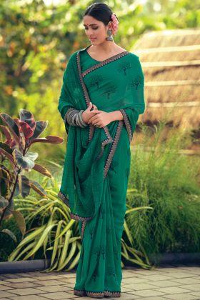 Printed Rama Color Latest Saree In Georgette Fabric