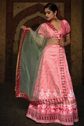 Printed Satin Lehenga Choli For Girls