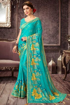 Printed Chiffon Saree With Sky Blue Color