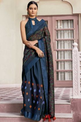 Printed Cotton Navy Blue Daily Wear Saree