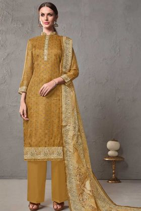 Printed Cotton Silk Kota Checks Mustard Yellow Pant Suit