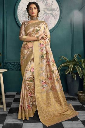 Printed Crepe Silk Wedding Saree With Beige Color