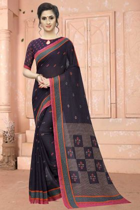 Printed Dark Purple Traditional Soft Cotton Sarees