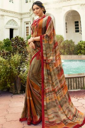 Printed Georgette Saree Multi Color With Maroon Blouse