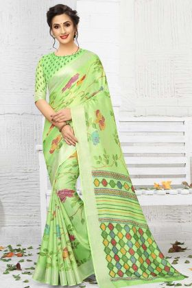 Printed Green Color Linen Saree